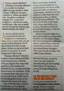 Sunday Times article on energy efficient electric heating, referring to Herschel Infrared 1/4/2018